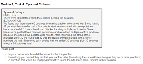 Figure 3. Analyzing student solutions for peeling potatoes from the VFS Module 2.